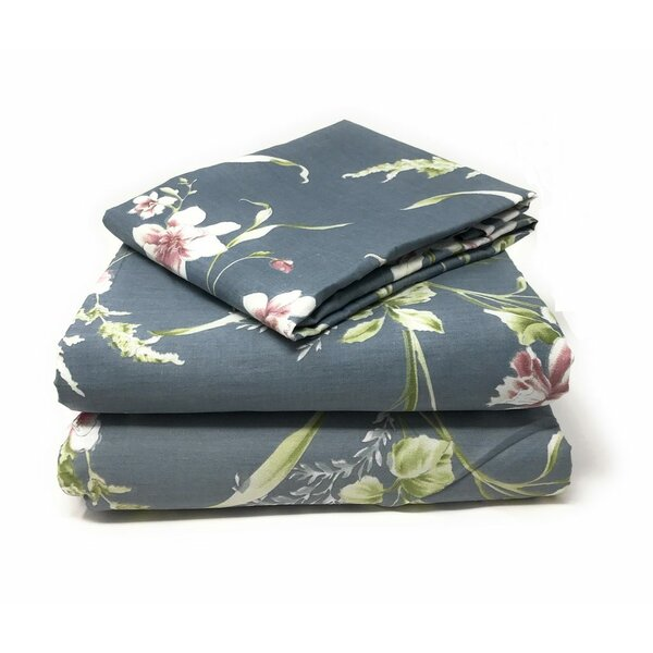 Giambrone Cherry Blossom 800 Thread Count 100% Cotton Flat Sheet by Red Barrel Studio